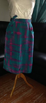 Green check wrap round skirt