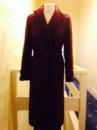 Wine colored wool coat.