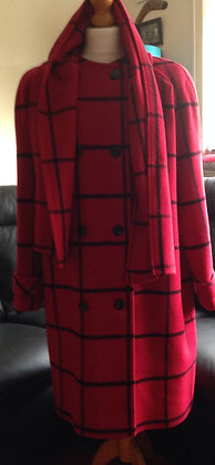 Red and black check wool coat