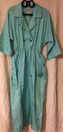 1980's green dress with black polka dot's