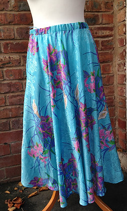 Blue Skirt with floral pattern