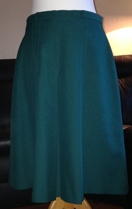 Green front pleat pencil skirt