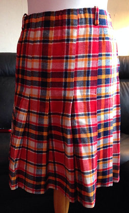 1960's check red pleated skirt