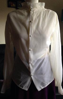 Frill neck nylon blouse