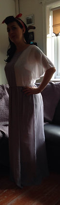 Grey and white 1970's maxi dress REDUCED £25.00