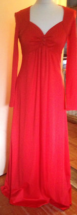 1970's sweetheart neckline, evening dress.