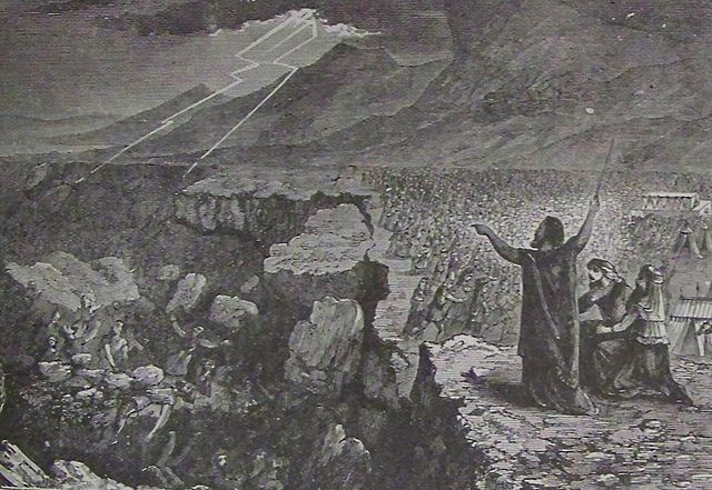Destruction of Korah Dathan and Abiram (illustration from the 1890 Holman Bible)