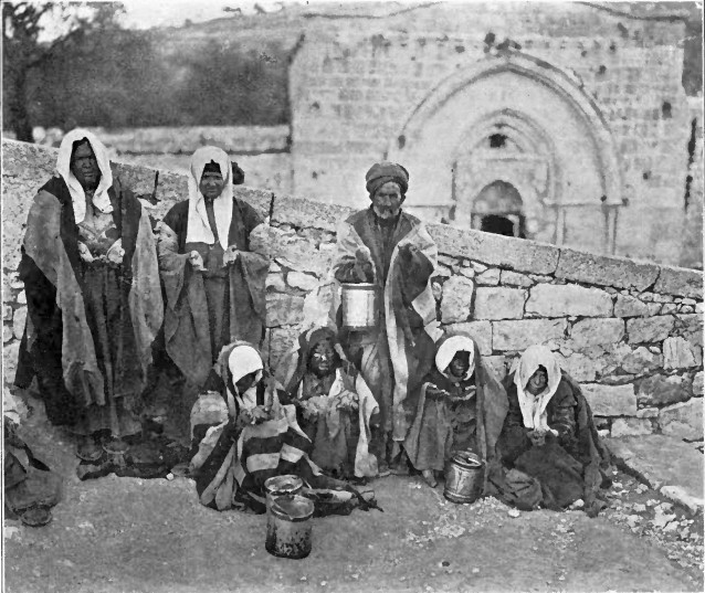 Lepers in Jerusalem 1913 outside Mary's Tomb in the Kidron Valley. A diary of my life in the Holy Land. J. P. Smith printing company Rochester, N.Y., (1906) Breen, A. E. (Andrew Edward)