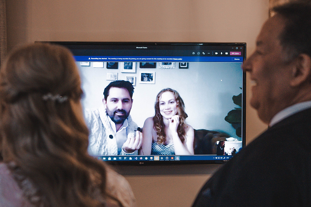 Wedding guests on a zoom call
