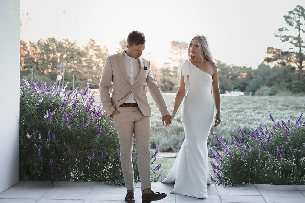 Newlyweds photographed in a lavender farm