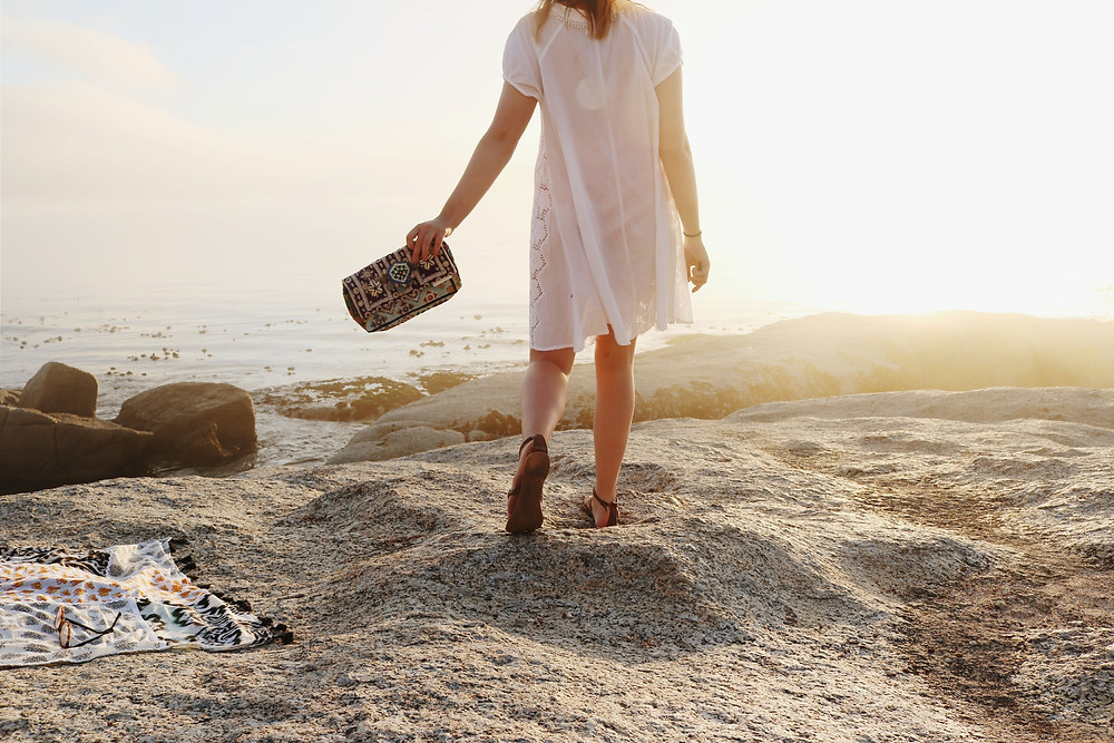 Cotton summer dress and ocean view