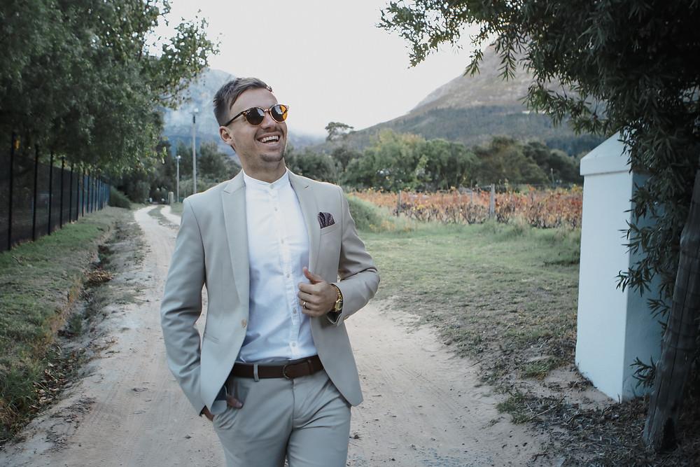 Fun photo of groom in the Franschoek winelands