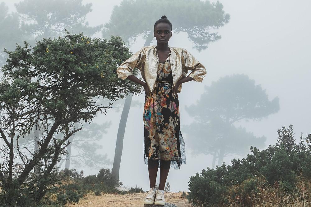 Vintage slip dress fashion editorial