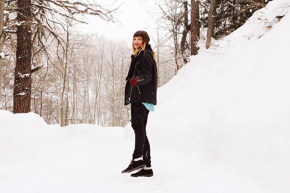 Model standing in snow