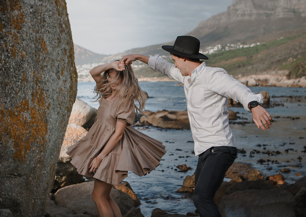 Engagement session of two couples dancing