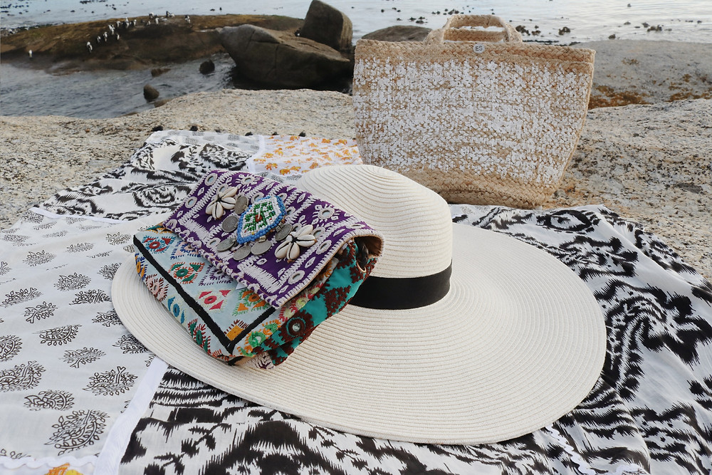 Beaded bag and sun hat