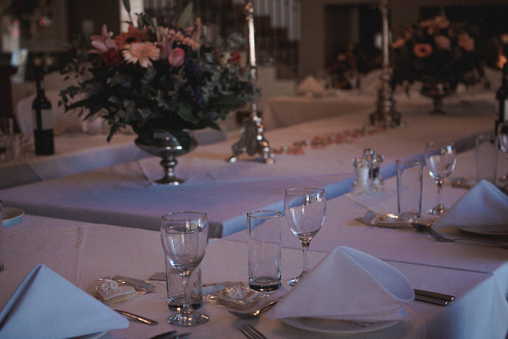 Table decorations of a wedding