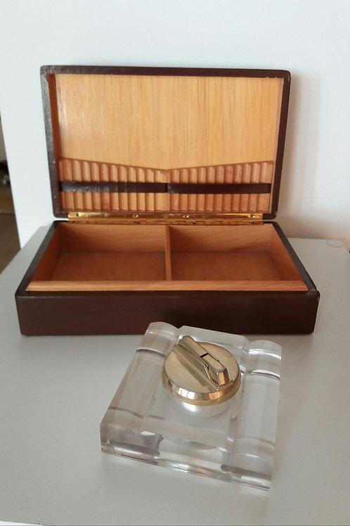 Caja para cigarros madera y piel