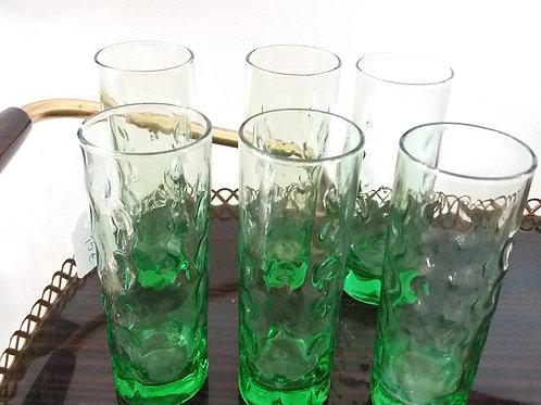 Vasos vintage de cristal verde