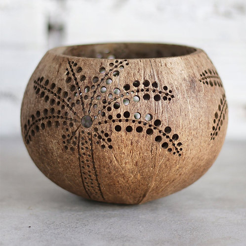 """Coconut Candle Holder """"Palm"""""""