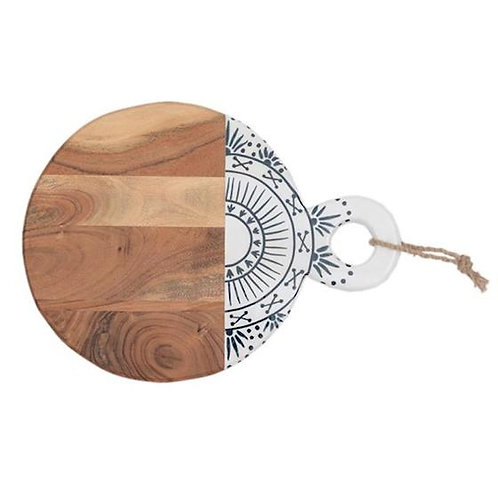 Round Wooden Cutting Board - Blue & White Lines