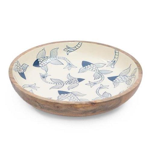 Wooden Bowl - Fish Pattern