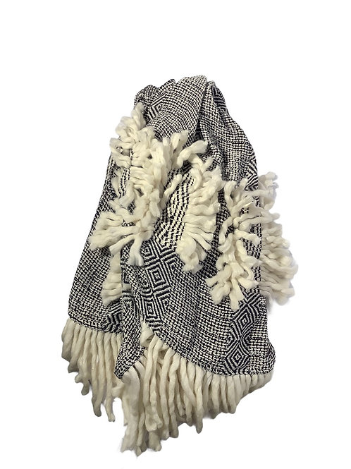 Black and White Plaid Macrame Blanket