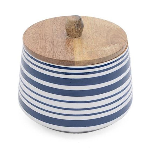 Wooden Canister - Blue & White Strips