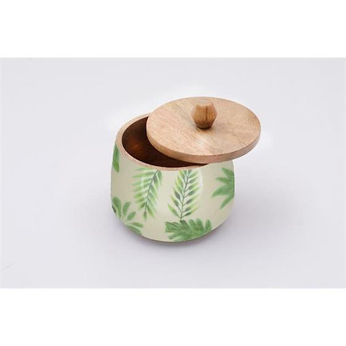 Wooden Canister - Green Leaf Pattern