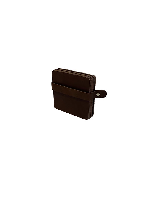 6 Leather Coasters - Brown