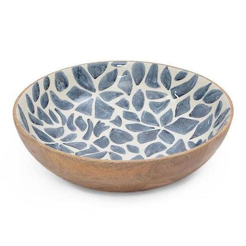 Wooden Bowl (30x30x8) - Blue & White