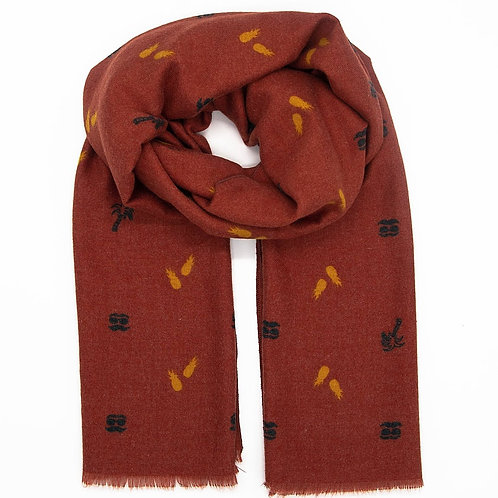 Pineapple Tropic Red Scarf