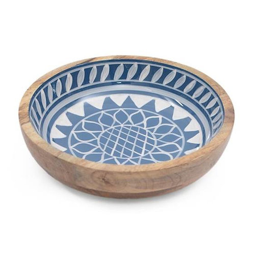 Wooden Round Bowl - Blue Sun Pattern
