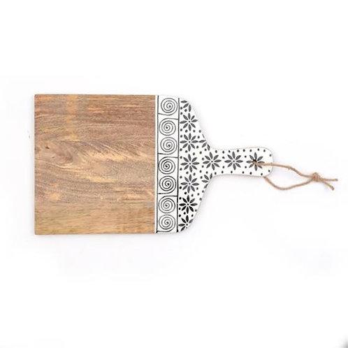 Wooden Cutting Board - Black & White Design