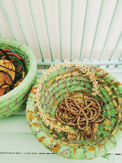 Kaisha Grass Sari Basket - Fair Trade - Green