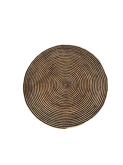 Round Jute Carpet - Black & Natural - 100 cm