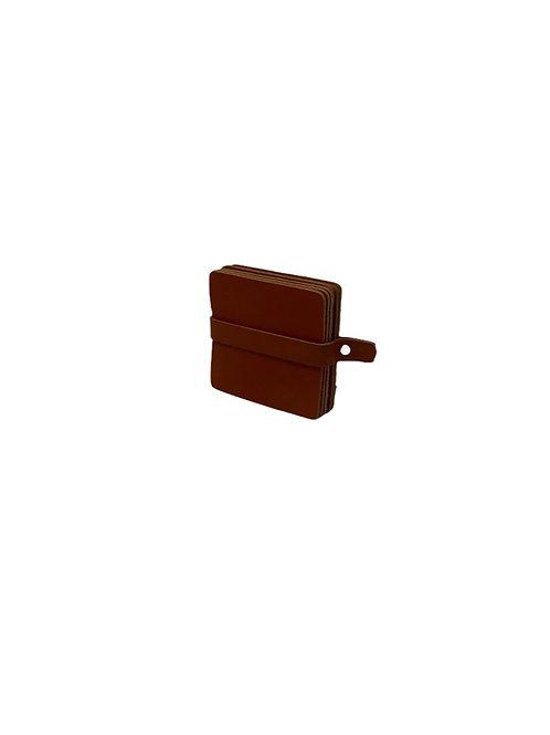 6 Leather Coasters - Cognac