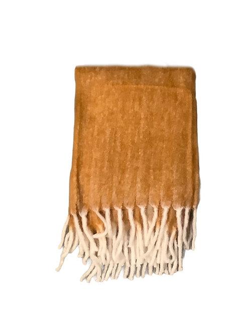 Mojair Plaid Fringe Spice Blanket