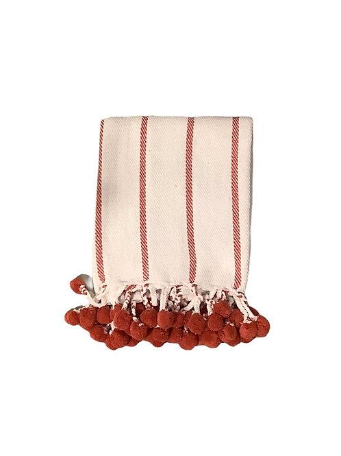 Red & White Pom Blanket
