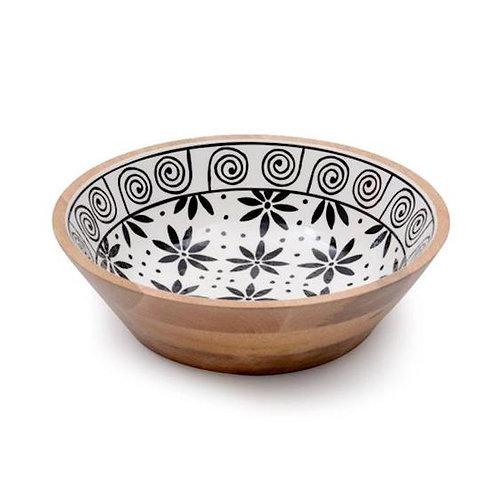 Wooden Bowl - Black & White Flowers