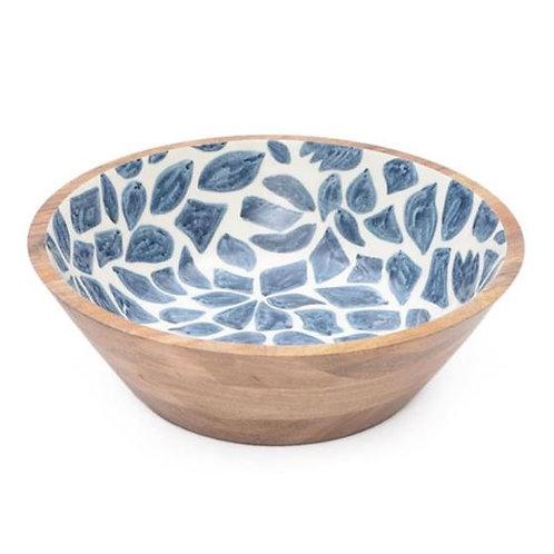Wooden Bowl (40x40x12) - Blue & White Pattern