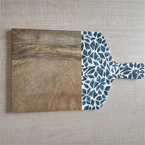 Wooden Cutting Board - Blue & White Pattern
