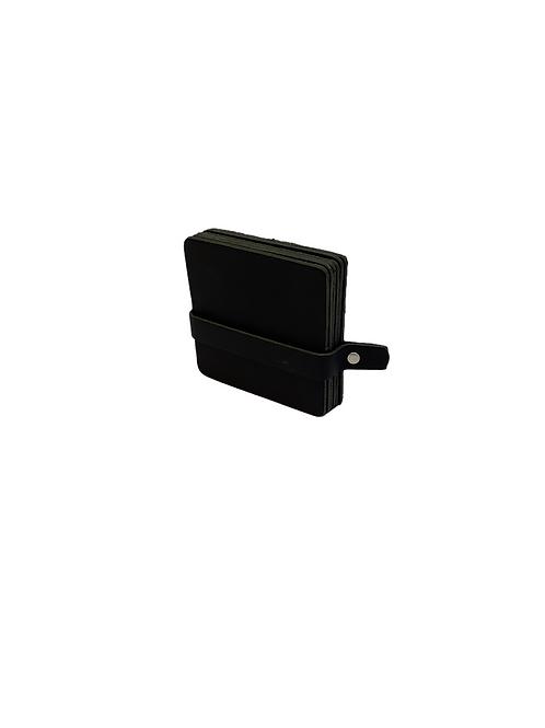 6 Leather Coasters - Black