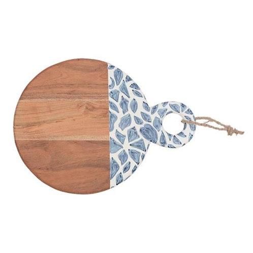 Round Wooden Cutting Board - Blue & White