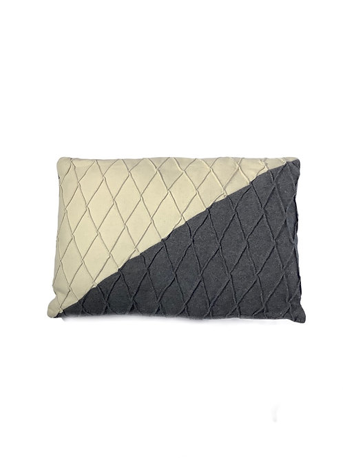 Flanel Cushion - Wool - Gray & Cream