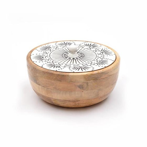 Wooden Bowl with Lid - White & Black