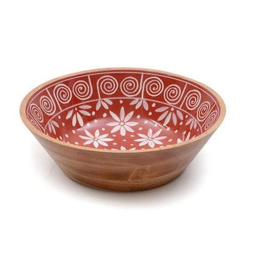 Wooden Bowl - Red & White Flowers