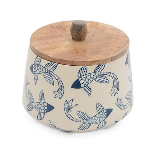 Wooden Canister - Blue Fish