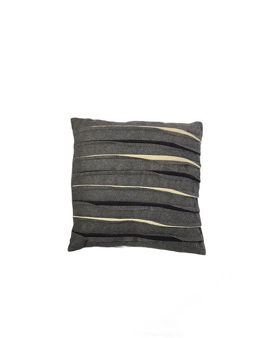 Flanel Waves Cushion - Wool - Gray and Cream