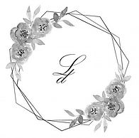 Black and White Floral Logo with Initial